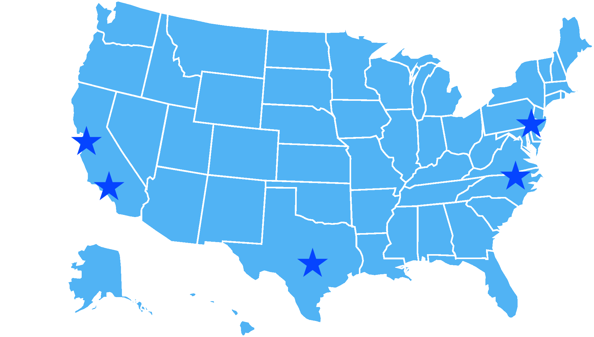 office locations starred on blue map of united states