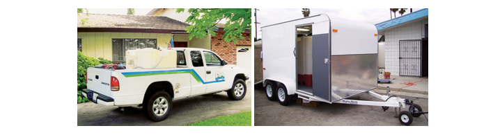 white truck with portable chlorination system in bed and portable chlorination system on back of white trailer