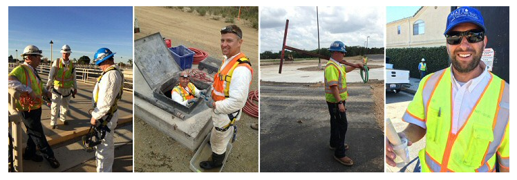 water main disinfection specialists on job sites smiling
